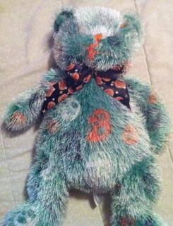 Sugar Loaf Halloween Teddy Bear Green Orange Black Skulls fringe