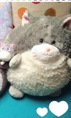 Round Stuffed Plush Cat Kitten Gray