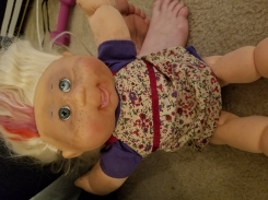 Cabbage Patch Doll, purple dress