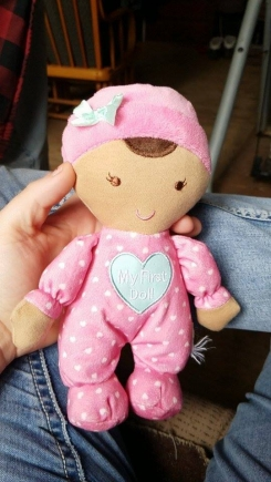 My first doll with brunette hair