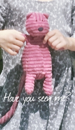 Pink JellyCat Cordy Cat- small size with long tail
