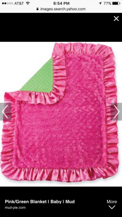 Mudpie pink and green minky blanket