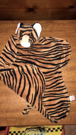 """striped blanket/lovey with tiger head about 18 ' x 18 """""""