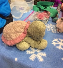 Plush turtle with pink shell baby