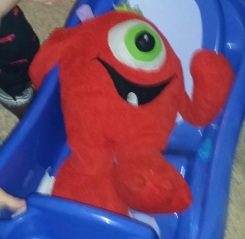 """Red Monster one eye one tooth 15 to 17"""" Goffa"""