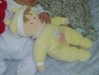Baby Plush With Bunny Ear Hat and Bunny and Heart on Stomach