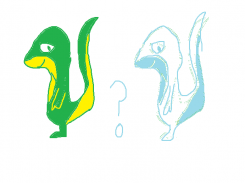 """green and yellow """"lizard""""/""""dino"""" on two legs"""