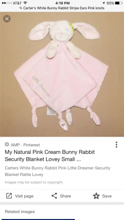 Carter's little dreamer bunny with blanket attached
