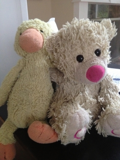 Well loved cream colored bear with hearts on feet and pink nose