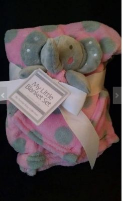 Pink and grey Pola Dot Blanket w/ Elephant lovey