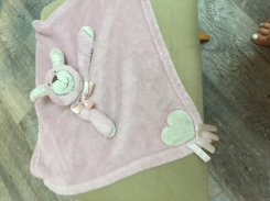 Pink bunny blanket made by blankets and beyond