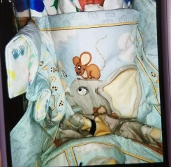Light blue baby blanket/quilt with elephants mice and cheese