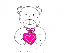 Large, white, shaggy bear holding magenta heart with yellow outline in centre from Loblaws 2008(?)