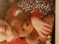 White ears with black tiny polka dots; tan/brown teddy