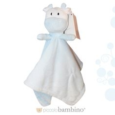 Piccolo Bambino Blue and White Cuddly Cow Lovey Blanket