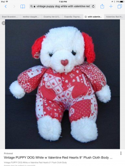 "Vintage puppy dog white with valentine red hearts 9"" plush cloth body"