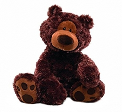 """Gund brand 18 inch """"Philbin"""" bear in chocolate, small tear in seam of left foot"""