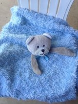 Tan Bear with Blue Blanket