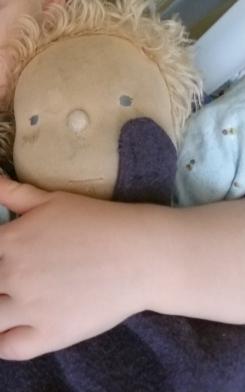 Waldorf cloth doll with mohair hair