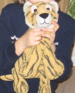 Orange tiger with black stripes.