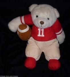 1989 Vintage Prestige Corp White Teddy Bear with Football