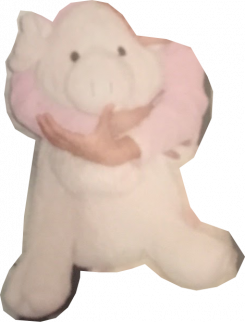 Large pink pig with hard eyes and pink feet
