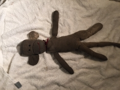 FOUND- Handsewn Sock Monkey (well-loved)