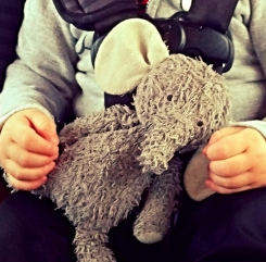 Carter's grey elephant. He has white ears and is very loved looking. Especially near the tag