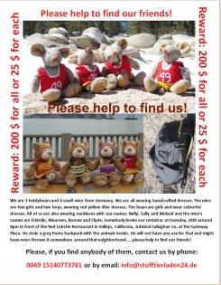 Stolen 4 stuffed mice and 3 teddybears