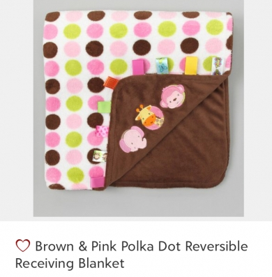 Brown and pink polka dot Taggies blanket