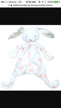 Bunnies by the bay white knotty bunny with pink polka dots