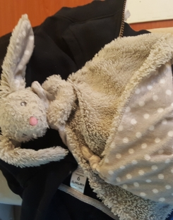 KellyBaby blankie with rattle (grey bunny with floppy ears and pink nose)