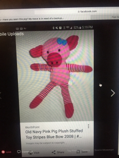 Pink Piggy with blue bow - sold at Old Navy during 2008