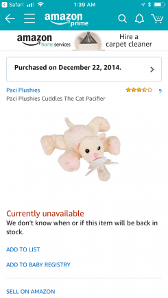 """Cuddles the Cat"" Nookums Paci Plushie"