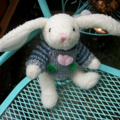 Lol eared bunny with flower striped sweater