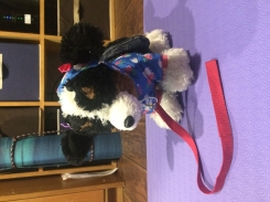 Build-a-Bear Brown Black and White puppy dog with blue hoodie and denim skirt