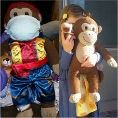 Dark Brown monkey with tan face/hands/feet has red BAB on right hand