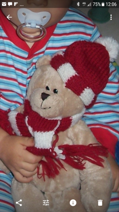 Teddy Bear light brown with red and white beanie and scarf. 12 yrs old brand teddy bear shop.