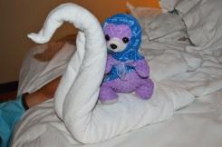 """Purple Bear with blue """"pajamas"""""""
