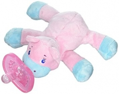 Pink hippo with detachable paci