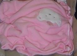 Thin pink blanket with white princess bear applique satin silk trim