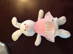 White ballet bunny with pink shirt and pink with white-polka dot dress