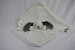 Blankets and Beyond white Bunny gray ears satin bottom lost in white mail package