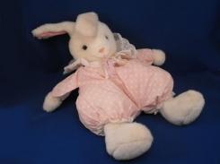 Gund Hoppity Sr. - white bunny with pink/white polka dots, eyelet collar