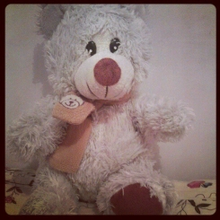 White Teddybear with brown scarf with a bear on it.