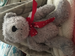 Gray bear with a red ribbon with white hearts