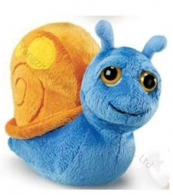 Plush snail, blue with orange shell