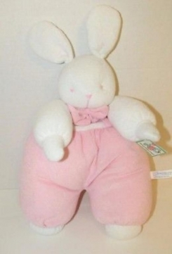 "ABC - ""the leather tag line"" White bunny with pink overalls and bow. Terry Cloth. Floppy"