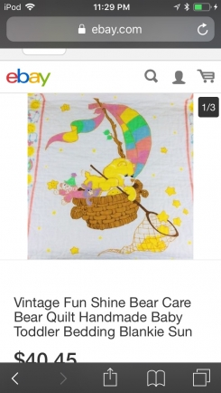 Care Bear Blanket 1980. The picture is not the exact blanket but similar. I