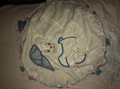 Baby baseball bear quilt with 90's patterned fabric.